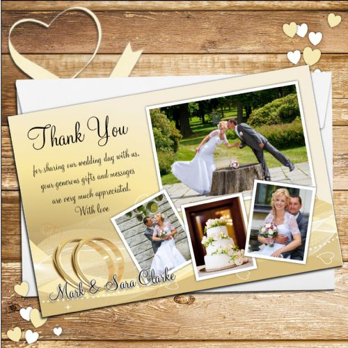 10 Personalised Gold Rings Wedding Day Thank you Photo cards N190